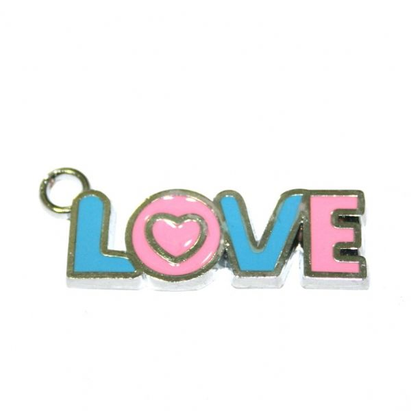 1pce x 29*9mm Rhodium plated LOVE in blue/pink enamel charm - SD03 - CHE1047